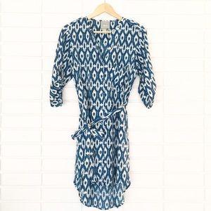 Anthropologie [Maeve] Blue & White Tie-Waist Dress